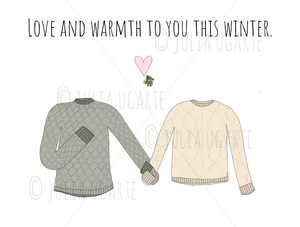 Love and Warmth to You This Winter Neutral Holiday Card