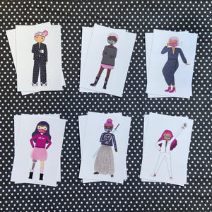 Masked Puckish Girls Postcard Set