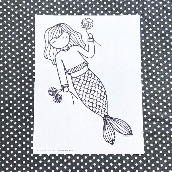 Puckish Mermaid Coloring Page (FREE DOWNLOAD)