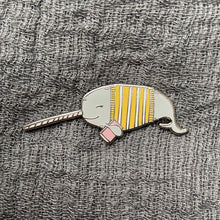 Load image into Gallery viewer, Bookish Narwhal Enamel Pin