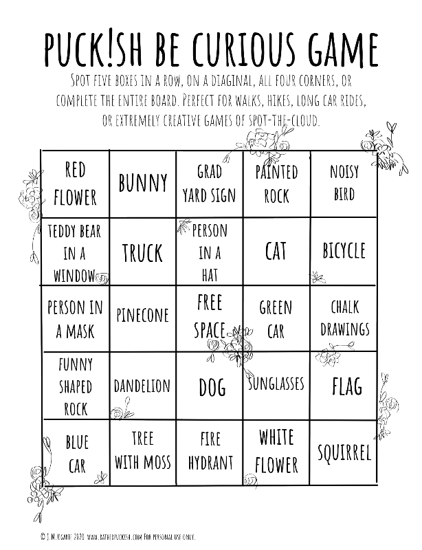 Puckish Be Curious Bingo Game (FREE DOWNLOAD)