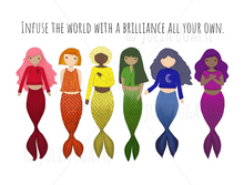 Load image into Gallery viewer, Infuse the World with a Brilliance All Your Own Rainbow Mermaids Note Card