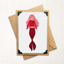 Load image into Gallery viewer, Red Mermaid Note Card