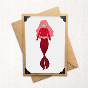 Red Mermaid Note Card