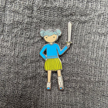 Load image into Gallery viewer, Blue Tutu and Sword Enamel Pin