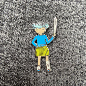 Blue Tutu and Sword Enamel Pin