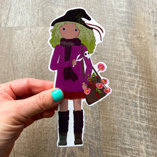 Witchy Gardener Girl Bookmark