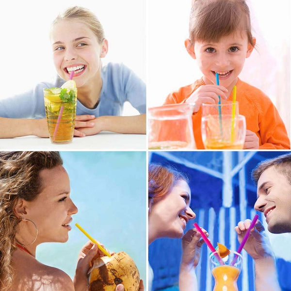 Kids Sized Reusable Silicone Drinking Straws