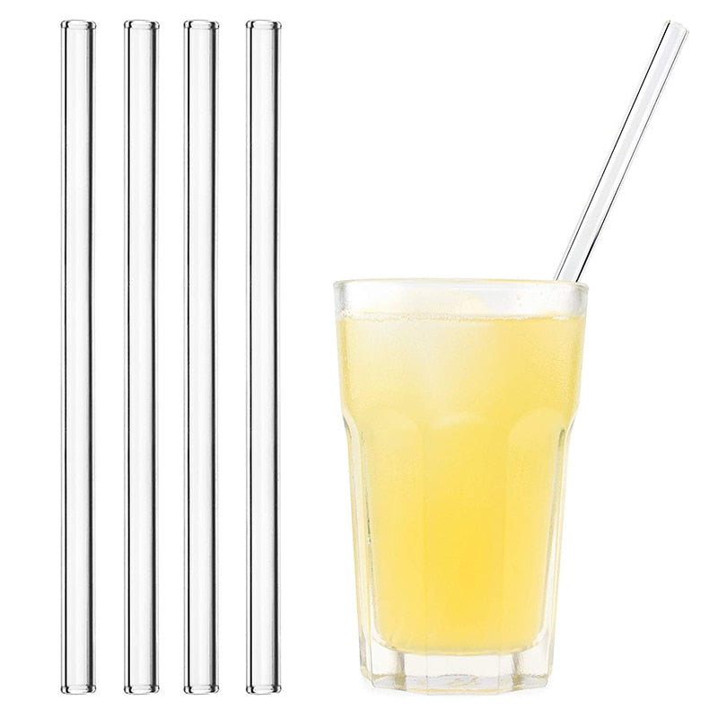 4 Reusable Glass Drinking Straws with Brush