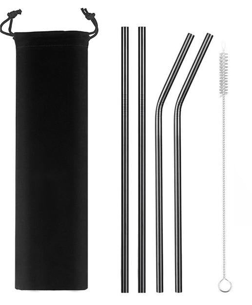 Black Stainless Steel Straws with Carry Case