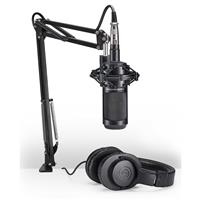 Audio-Technica AT2035 Streaming/Podcasting Studio Microphone Pack with ATH-M20x Headphones, Boom and XLR Cable