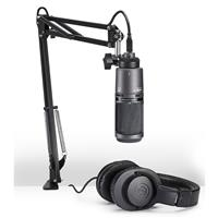 Audio-Technica AT2020USB+ Streaming/Podcasting Microphone Pack with ATH-M20x Headphones, Boom and Mic