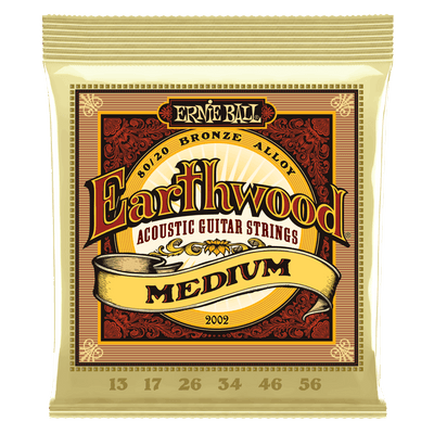Ernie Ball Medium Earthwood 80/20 Bronze Acoustic Guitar Strings, 13-56 Gauge