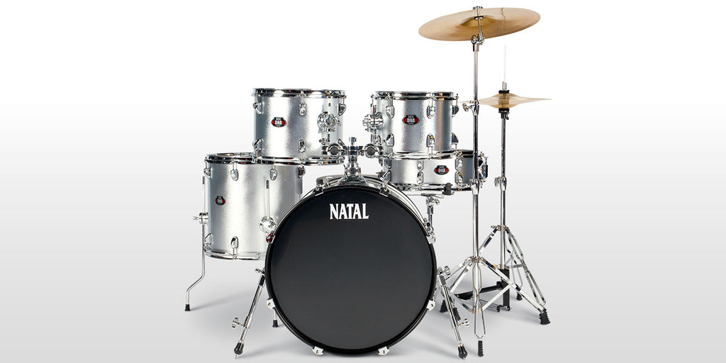 Natal 5 Piece DNA UF22 Starter Drum Set/Kit, Silver