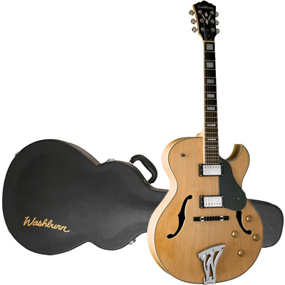 Washburn Hollowbody J3NK Jazz Series Electric Guitar w/Hard Case, Natural