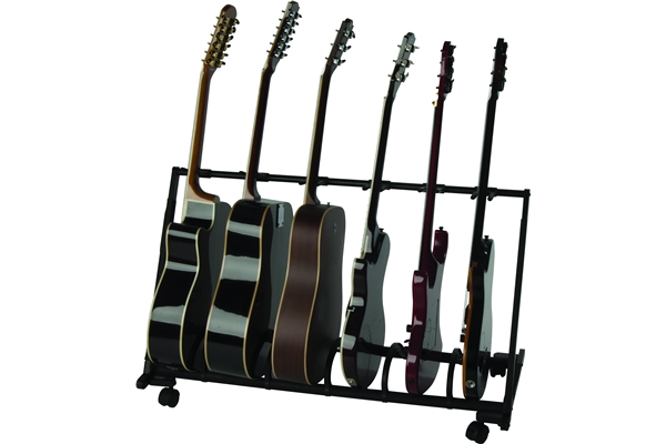 QuikLok GS-460 Universal Guitar Stand with Casters For Six Guitars