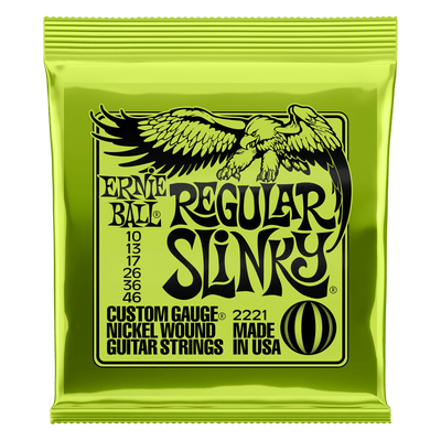 Ernie Ball Regular Slinky Nickel Wound Electric Guitar Strings, 10-46 Gauge (2221)