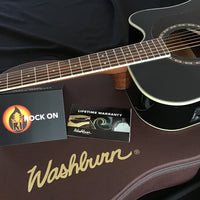 Washburn HD10S-GCDNDLX Acoustic-Electric Guitar, Black With Washburn Hardshell Case