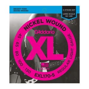 D'Addario EXL170-5 Electric Bass Guitar Strings, Regular Light Gauge Long Scale
