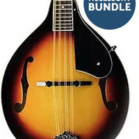 Washburn Mandolin Pack with A-style mandolin, gig bag, pitch pipe, strap, picks, & booklet.