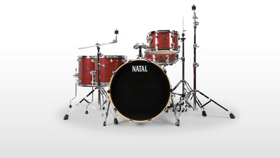 "Natal Drums Arcadia 5-Piece Drum Set/Kit with 22"" Bass Drum, Red Strata"
