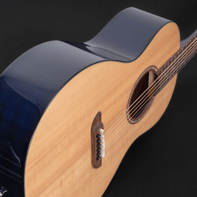 Washburn Vintage P33S Royal Sapphire Parlor Acoustic Guitar, Gloss Natural with Royal Sapphire back