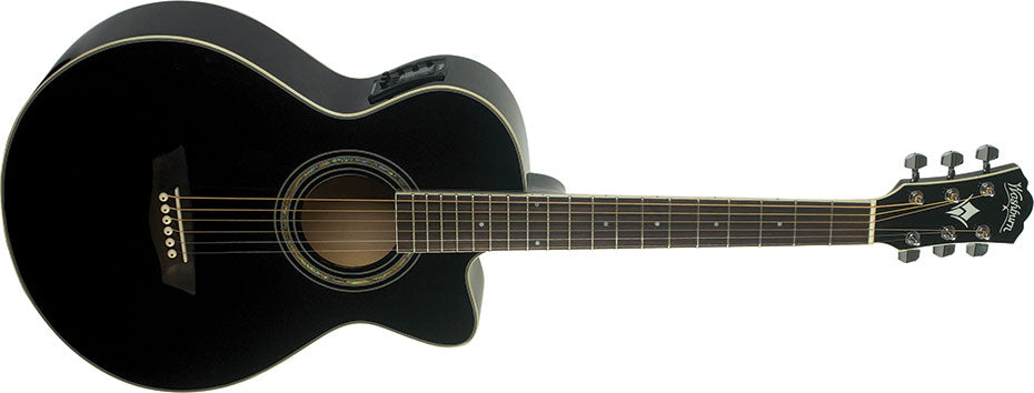 Washburn EA10B Festival Petite Jumbo Acoustic-Electric Guitar, Black
