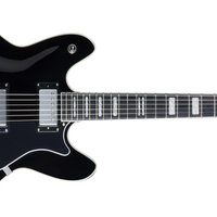 Hagstrom Viking Left Handed Electric Guitar, Black Gloss