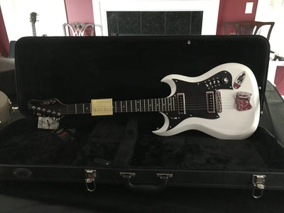 Hagstrom Retroscape Series H-II Electric Guitar with MBT Hard Shell Case, White Gloss