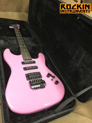 1987 B.C. Rich Rave ST-III Gorilla Electric Guitar with New MBT Case, Pink