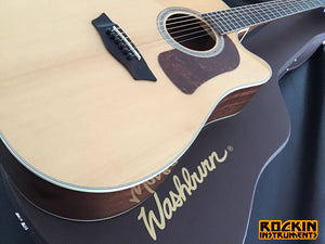 Washburn Heritage HD100SWCEK 6-string Dreadnought Cutaway Acoustic Guitar with Hard Shell Case