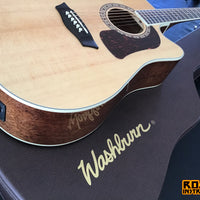 Washburn HD10SCE-GCDNDLX Acoustic-Electric Guitar, Natural With Free Washburn Hardshell Case