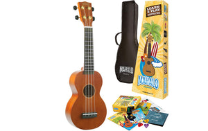 Mahalo Rainbow Soprano Ukulele 'Learn 2 Play' Essential Kit, Transparent  Brown