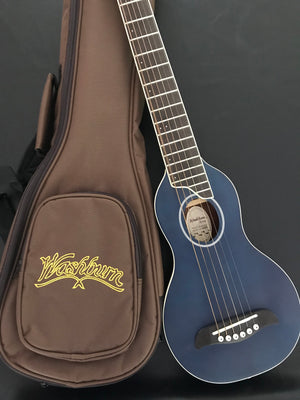 Washburn Rover RO10SK Acoustic Travel/Mini Guitar With Gig Bag, Translucent Blue