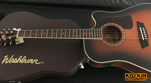 Washburn Heritage HD10SCE-GCDNDLX Acoustic-Electric Guitar, Tobacco Burst with Washburn Hard Shell Case
