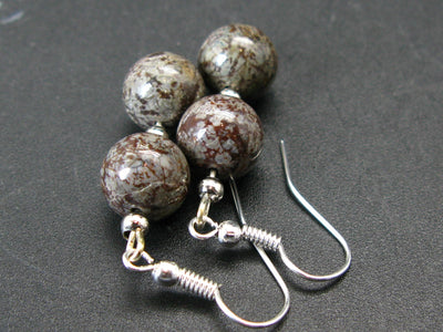 Natural Vortexite Genuine Round Beads Dangle Shepherd Hook Earrings