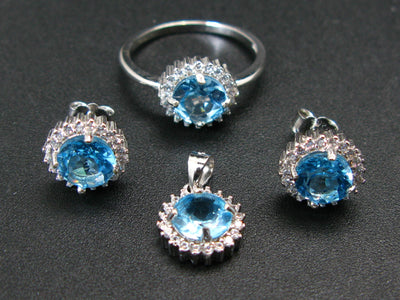 Natural Faceted Swiss Blue Toapz 925 Sterling Silver Set Ring Earring Necklace with CZ