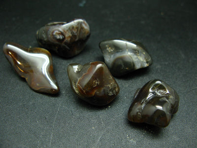 Lot of 5 natural tumbled Fire Agate (variety of Chalcedony) from Mexico