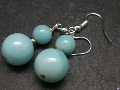 Round Azumar Beads Dangle Shepherd Hook Earrings from Madagascar