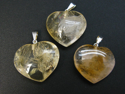 Merchant Stone!! Lot of 3 Natural Unheated Yellow Citrine Heart Shape Pendants from Brazil