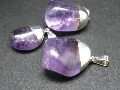 Lot of 3 Natural Tumbled Amethyst Pendant from Brazil