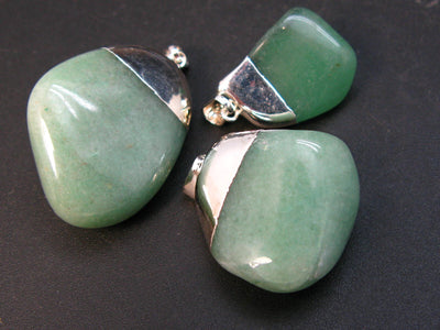 Lot of 3 Natural Green Aventurine Tumbled Pendant stone from Mexico