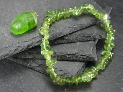 Peridot Genuine Bracelet ~ 7 Inches ~ 8mm Tumbled Beads