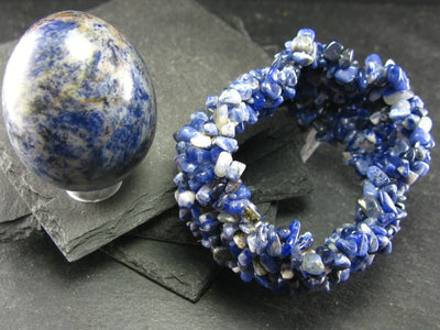 Sodalite Genuine Bracelet ~ 7 Inches ~ Tumbled Beads