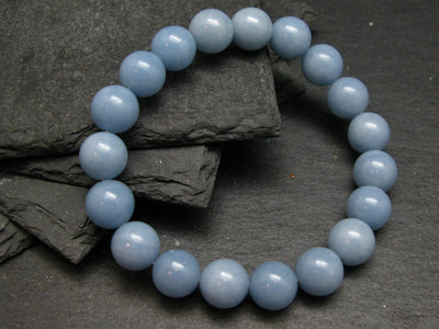 Angelite Anhydrite Genuine Bracelet ~ 7 Inches ~ 10mm Round Beads