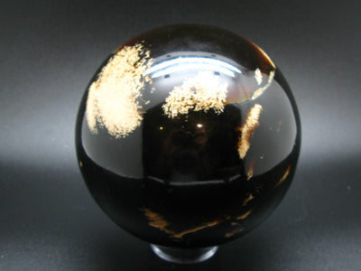 "Museum Size Blue Amber Ball Sphere Fluorescent From Indonesia - 5.3"" - 1245 Grams"