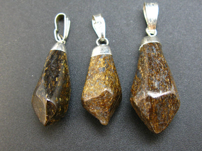 Lot of 3 Natural Diamond Shape Bronzite (Enstatite) Pendant from USA