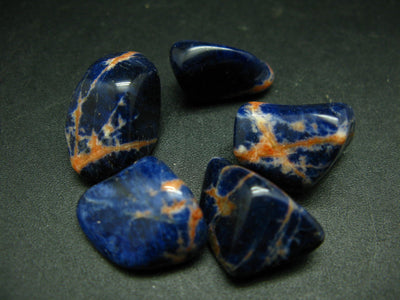 Lot of 5 sunset Sodalite ( with sunstone) tumbled stones from Brazil