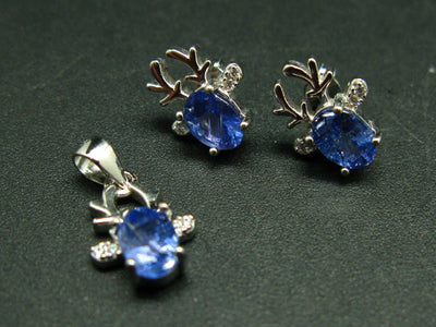 Moose Spirit Animal Natural Faceted Tanzanite Zoisite 925 Sterling Silver Jewelry Set Stud Earrings Necklace