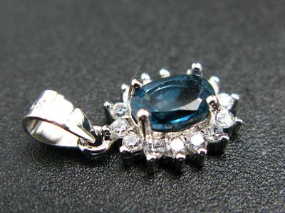 Natural Faceted London Blue Topaz 925 Sterling Silver Set Ring Earring Necklace with CZ
